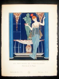 Gazette du Bon Ton by Barbier 1914 Deco Pochoir. La Fontaine de Coquillages